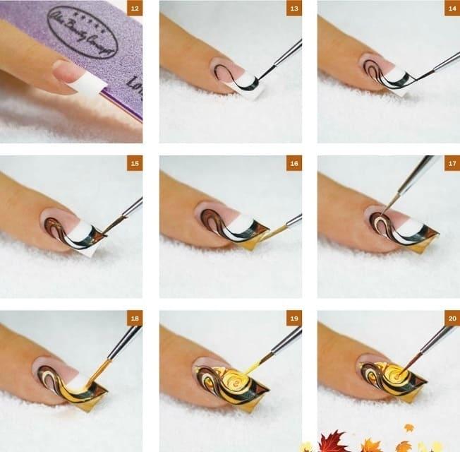 Как нарисовать рисунок на ногтях поэтапно