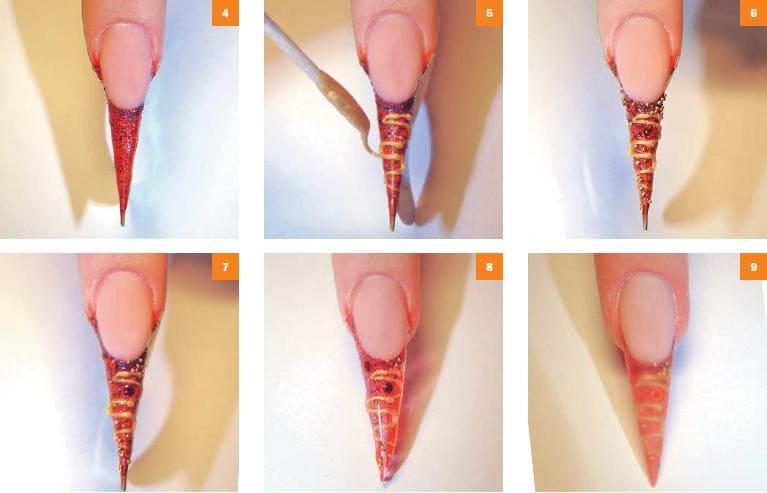Пример выполнения правздничного дизайна ногтей
