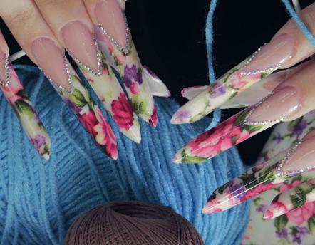 Дизайн ногтей edge с тканью