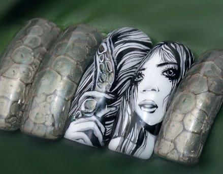 Дизайн ногтей с эффектом змеиной кожи