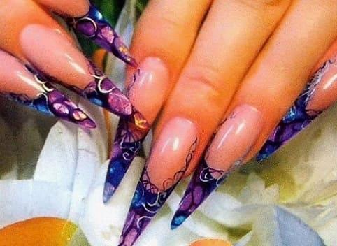 Акварельный витраж - дизайн ногтей