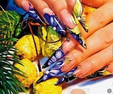 Акварельный дизайн ногтей - технология вымывания