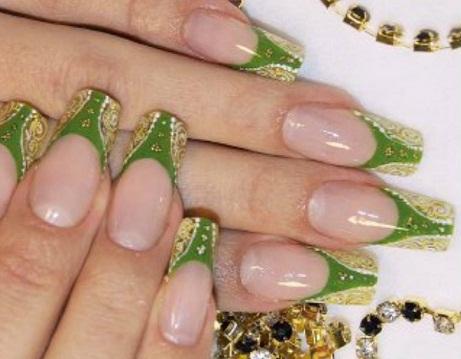Пример дизайна ногтей с совмещением геля и акрила