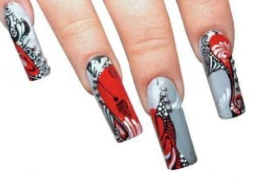 Японский абстрактный дизайн ногтей