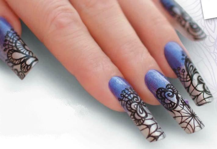 Дизайн ногтей зимний синий